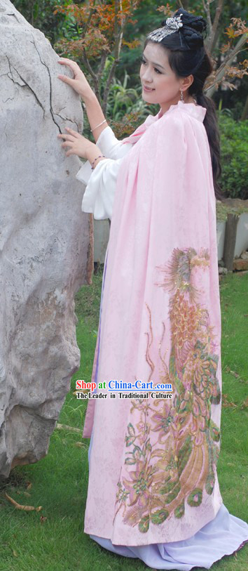 Ancient Chinese Pink Phoenix Cape for Women