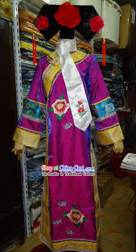 Ancient Chinese Qing Dynasty Palace Lady Costume and Hat for Women