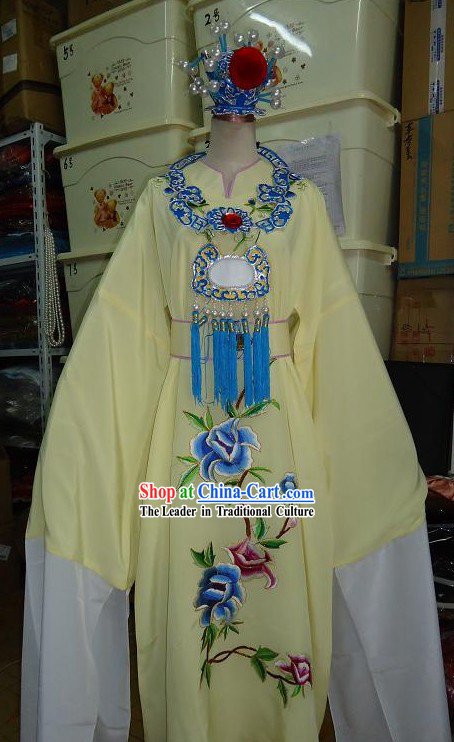 Ancient Chinese Opera Bao Yu Dream of Red Chamber Costume, Hat and Necklace for Men