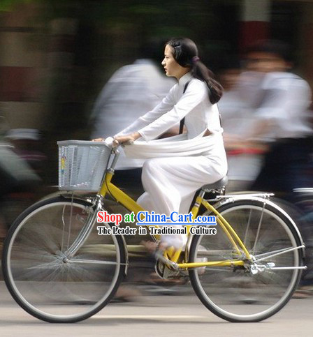 Traditional Vietnam Aodai White Clothing for Women