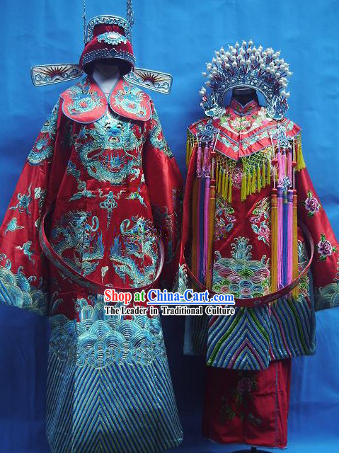 Ancient Chinese Wedding Dresses and Hats Two Sets for Men and Women