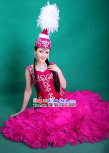 Ancient Chinese Mongolian Dance Costume and Hat for Women