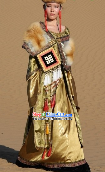 Ancient Chinese Mongolian Robe and Hat for Women