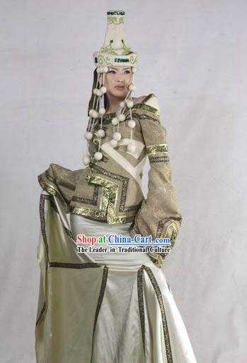 Traditional Mongolian Clothing and Hat for Women