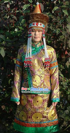 Traditional Chinese Mongolian Clothing and Hat for Women