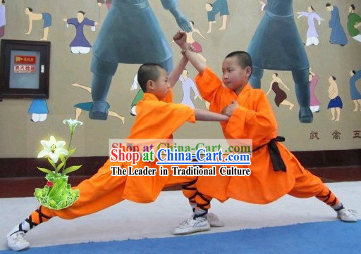 Chinese Shaolin Temple Orange Kung Fu Robe for Children