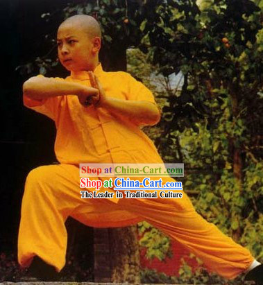 Chinese Yellow Shaolin Temple Kung Fu Uniform for Boys