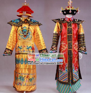 Ancient Chinese Emperor and Empress Costumes and Crowns for Men and Women