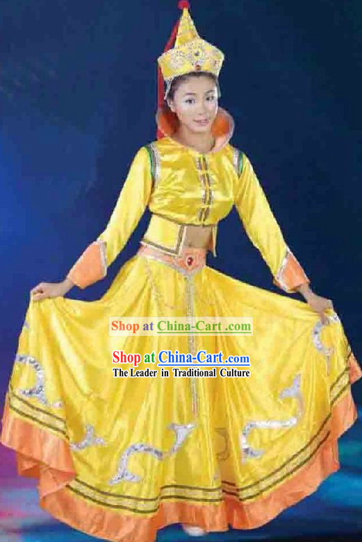 Traditional Chinese Mongolian Yellow Dance Costumes and Hat for Women