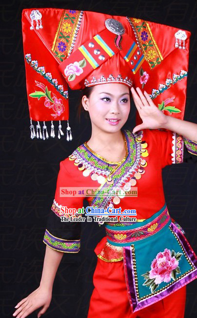 Chinese Zhuang Ethnic Minority Costumes and Hat for Women