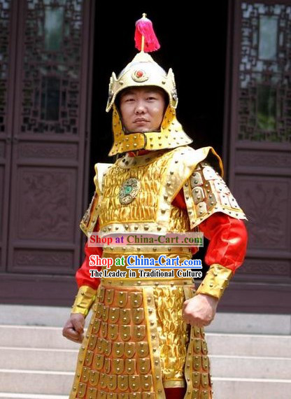 Ancient Chinese Golden Armor Costumes and Helmet for Men