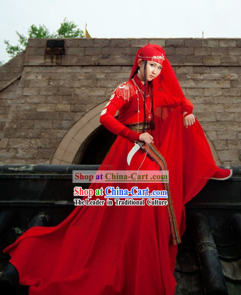 Ancient Chinese Red Kung Fu Clothing for Women