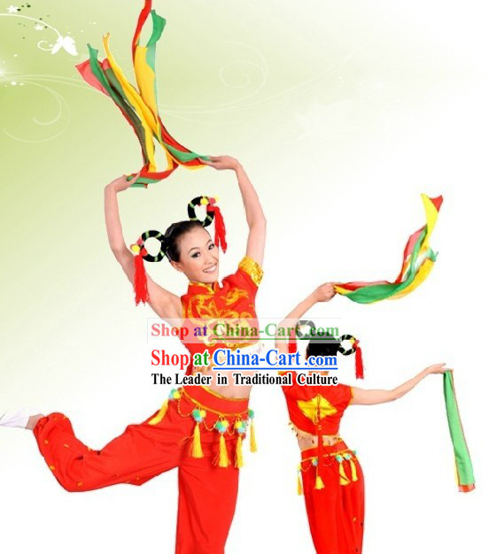 Hua Deng Chinese New Year and Festival Celebration Ribbon Dance Costumes for Women