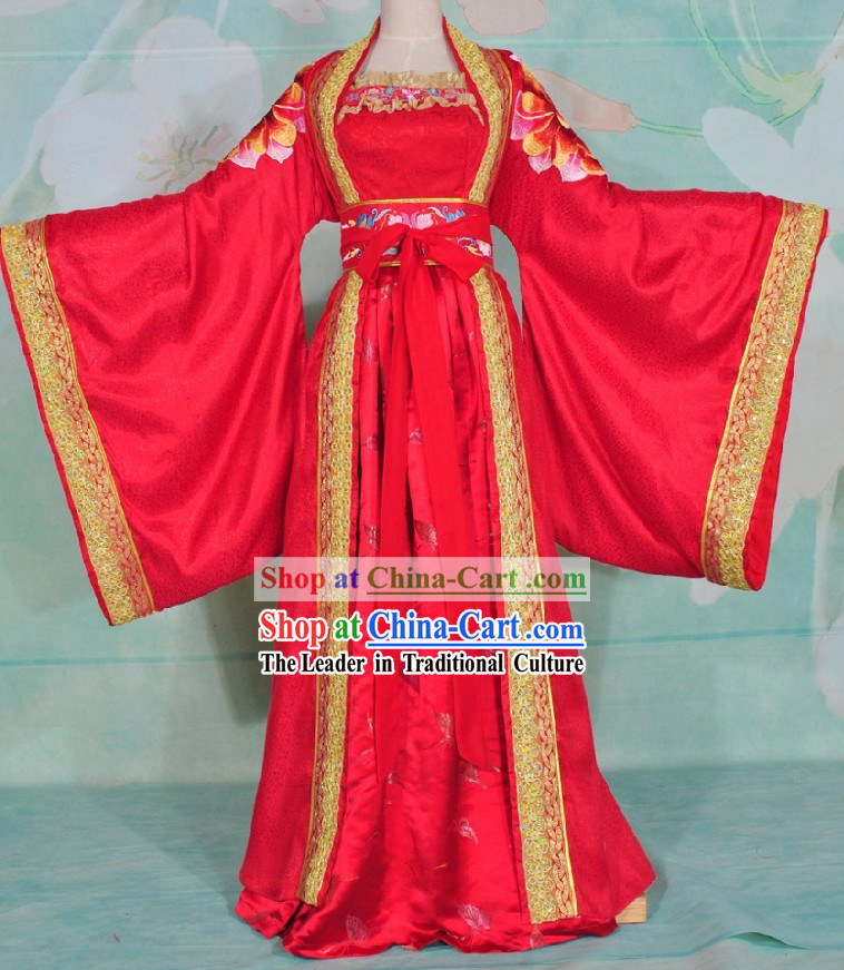 Ancient Chinese Brides Lucky Red Embroidered Wedding Dress and Veil