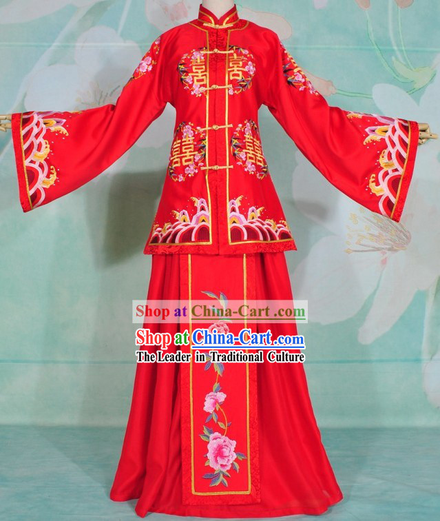 Chinese Classical Embroidered Xi Wedding Dress for Brides