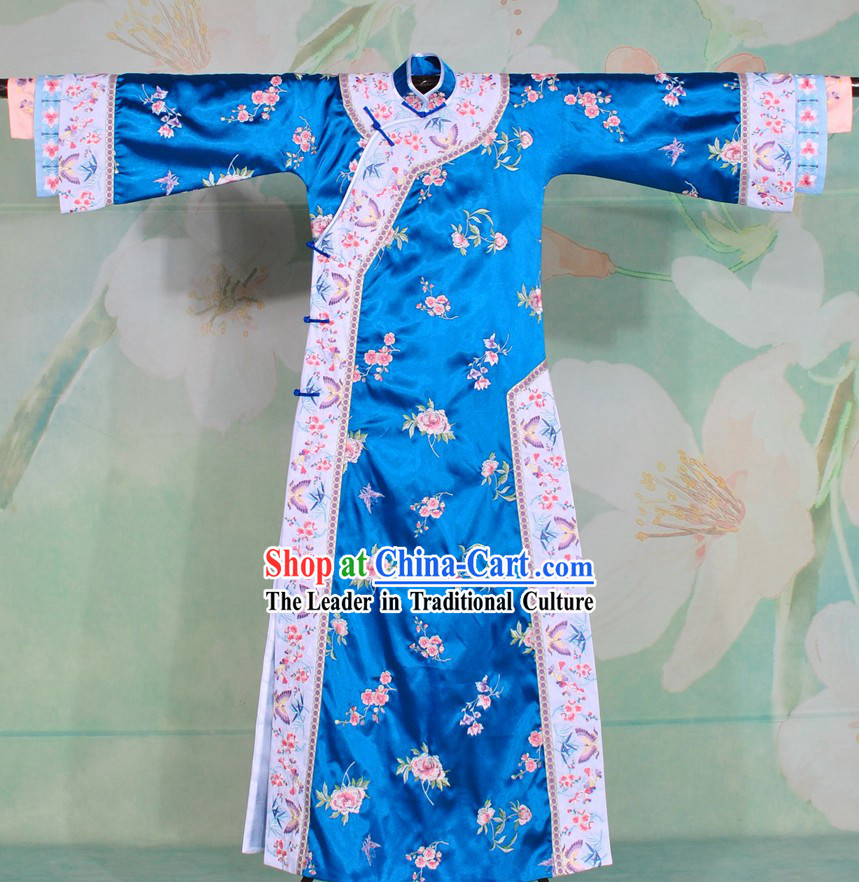 Qing Dynasty Blue Embroidered Flower Princess Clothes Complete Set