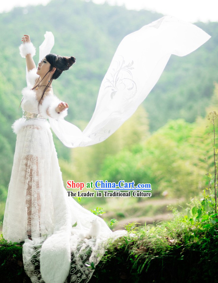 Ancient Chinese Fox Fairy White Costumes Complete Set