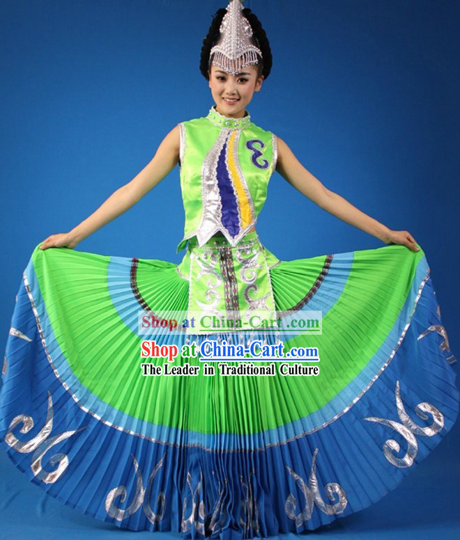Traditional Chinese Yi Minority Dance Costumes and Headpiece for Women