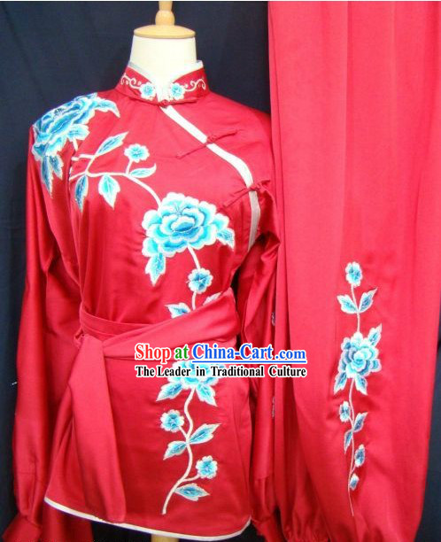 Chinese Kung Fu Embroidered Flower Competition Silk Uniform for Women