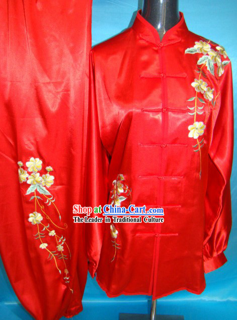 Chinese Classical Red Embroidered Flower Kung Fu Clothing Set for Women