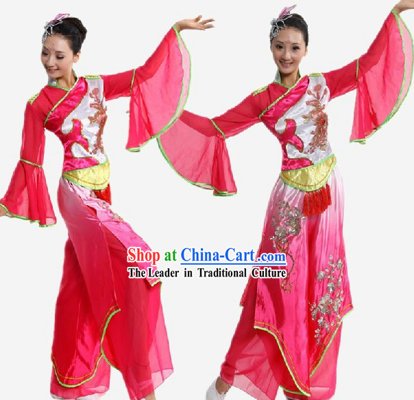 Chinese Classical Fan Dance Wide Sleeve Dance Costume for Women