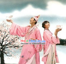 Ancient Chinese Lover Couple Opera Costume Two Sets for Men and Women
