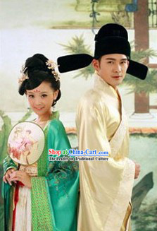 Ancient Chinese Tang Dynasty Wedding Couple Costumes and Hat