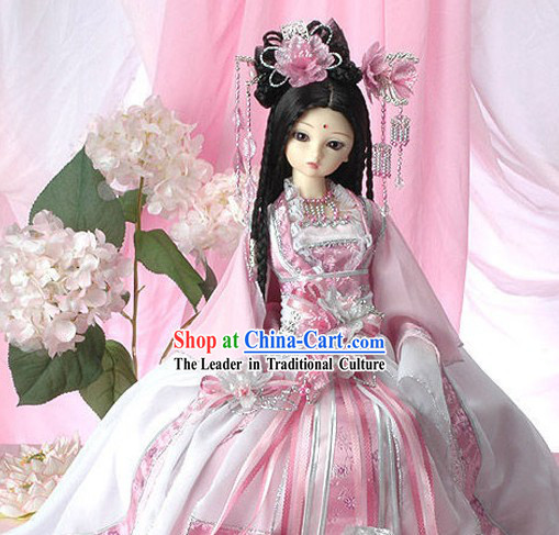 Ancient Chinese Princess Pink Clothing and Hair Accessories