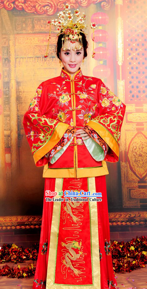 Chinese Classical Auspicious Embroidered Wedding Suit for Brides