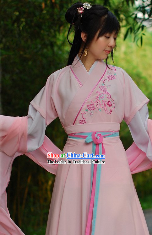 Han Dynasty Embroidered Flower Clothes for Girls