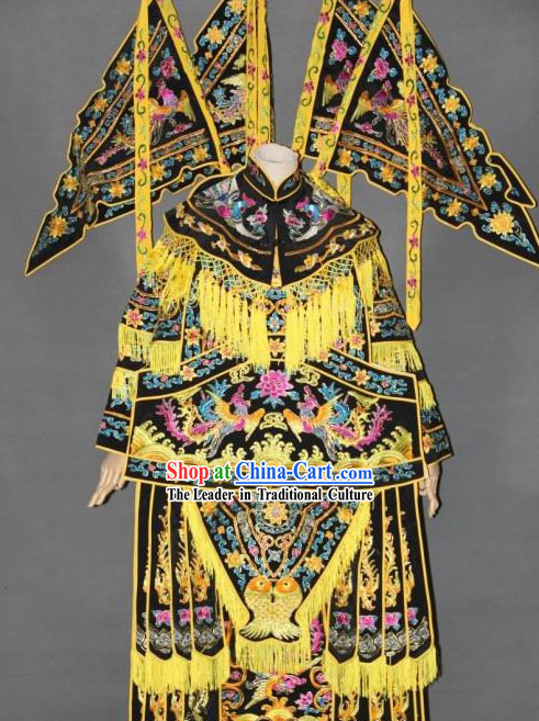 Ancient Yang Men Nv Jiang Women Heroine Embroidered Phoenix Armor Costumes with Flags