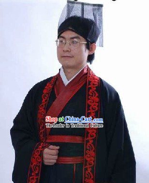 Ancient Chinese Prime Minister Costumes and Hat for Men