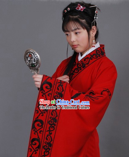 Ancient Chinese Red Hanfu Clothing for Lady
