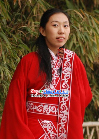 Ancient Chinese Han Dynasty Royal Lady Red Clothes