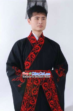 Ancient Chinese Han Dynasty Quju Embroidered Dragon Clothes and Hat for Men