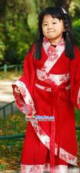 Han Dynasty Red Hanfu Clothing for Children