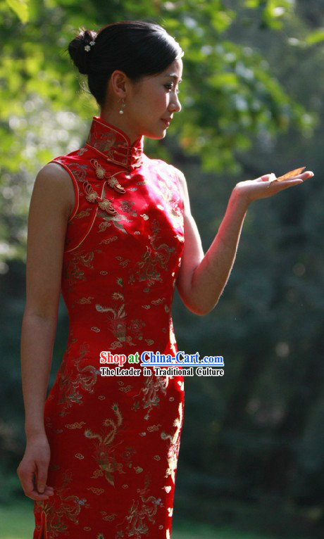Traditional Chinese Red Phoenix Wedding Cheongsam for Women