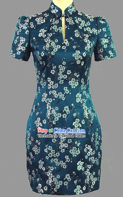 Chinese Classic Plum Blossom Short Cheongsam Qipao for Women