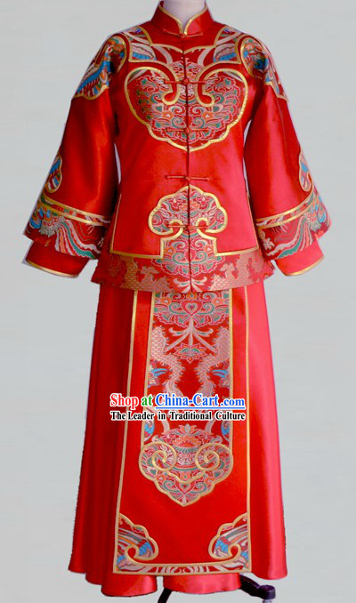 Chinese Classic Red Wedding Blouse and Skirt Complete Set for Lady