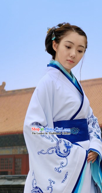 Traditional Chinese Embroidered Dragon Han Costumes for Women