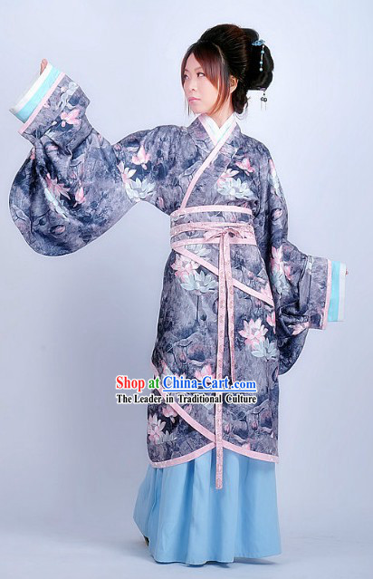 Traditional Chinese Lotus Beauty Hanfu Clothes for Lady