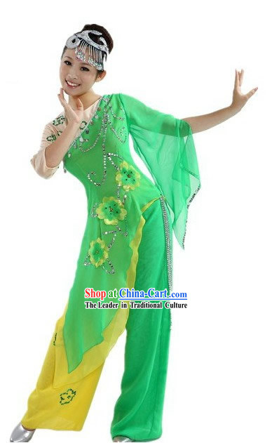 Chinese Classic Stage Performance Green Spring Dance Costumes and Headpiece