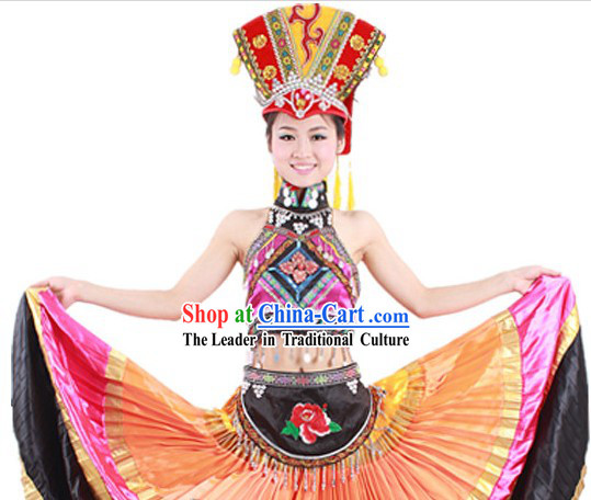 Traditional Chinese Yi Nationality Ethnic Attire and Hat for Women