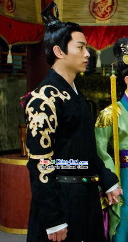 Black Ancient Chinese Embroidery Hanfu Robe for Men