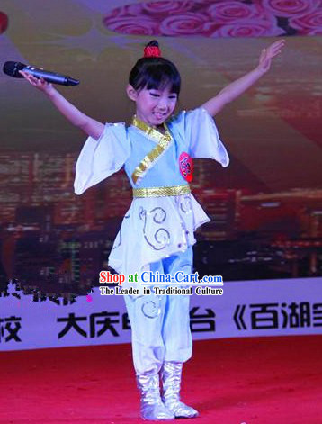 Traditional Chinese Three-character Scripture Costumes and Headband Outfit for Children