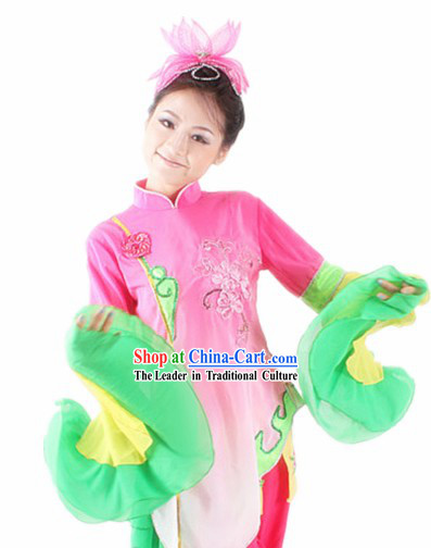 Traditional Chinese Lotus Shape Wide Sleeves Dance Costumes for Women