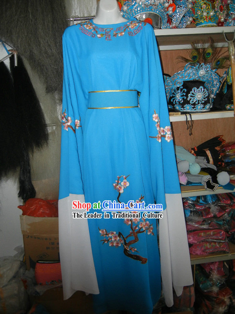 Blue Chinese Opera Stage Performance Embroidered Flower Long Robe for Men