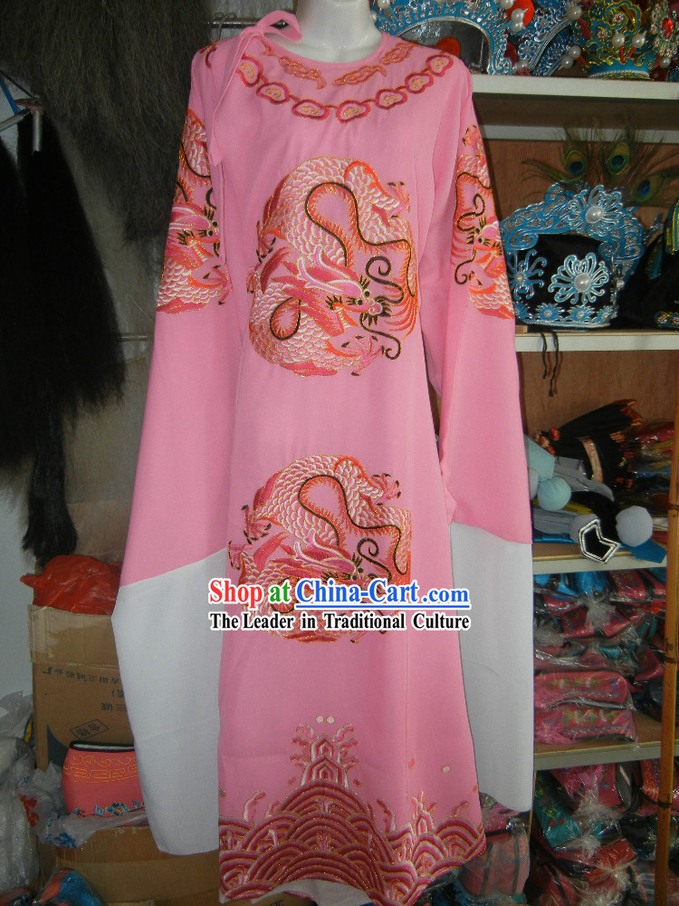 Chinese Opera Stage Performance Embroidered Dragon Long Robe for Men
