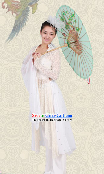 White Classical Chinese Dance Costumes and Headwear for Women