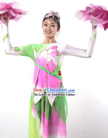 Traditional Chinese Lotus Dance Costume and Headwear for Women